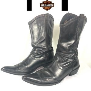 Harley Davidson leather pointed toe zip moto boots